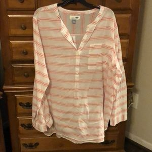 Coral and white tunic